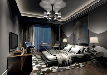 3d render of luxury bedroom