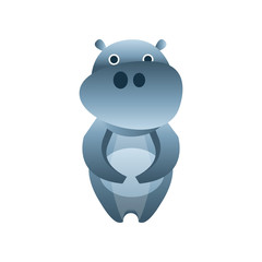 Cute hippo, stylized geometric animal low poly design vector Illustration