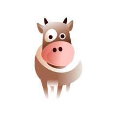 Cute cow, stylized geometric animal low poly design vector Illustration