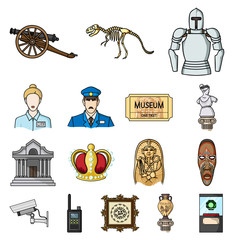 Museum and gallery cartoon icons in set collection for design. Storage and exhibition of showpiece vector symbol stock web illustration.