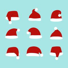 Santa hats set. Isolated. Christmas Santa Claus Hats.