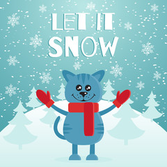 Let it snow the postcard or banner. Cute blue cat dressed in red scarf and mittens. Mountain and fir forest on the background. Merry Christmas. Flat design. Vector