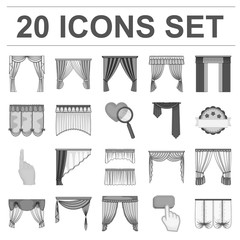 Different kinds of curtains monochrome icons in set collection for design. Curtains and lambrequins vector symbol stock web illustration.