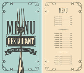 Vector template menu for restaurant with price list and fork in curly frame in retro style