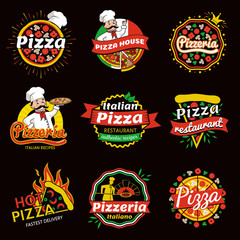 Italian Pizza Restaurant Promotional Emblems Set