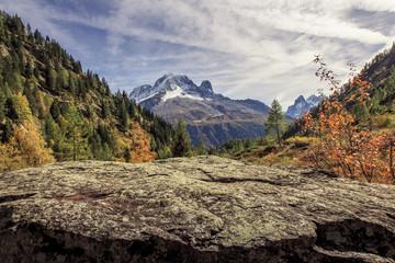 Autumnal alpine landscape near Chamonix