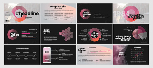 Dark Presentation Templates Element  Vector Infographics. Use in Presentation, flyer and leaflet, corporate report, marketing, advertising, annual report, banner.