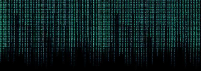 blue binary code matrix background wide banner