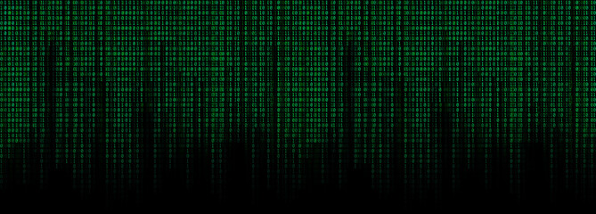 green binary code matrix background wide banner Wall mural