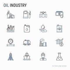 Oil industry thin line icons set: gas, petroleum, diesel,  truck, tanker, ship, refinery, barrel. Modern vector illustration.