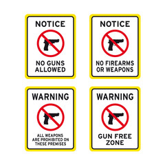 No firearms weapons or guns sign set