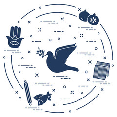 Jewish symbols: dove, olive branch, pomegranate, matzah, fish, hamsa, mezuzah.