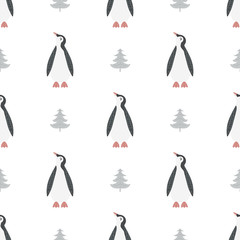 Christmas seamless pattern with the image of a penguin in Scandinavian style. Vector illustration