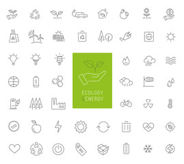 50 ecology, energy and environment thin line icons