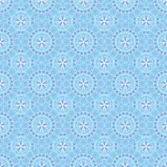 Seamless pattern with blue flowers on blue background.
