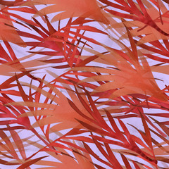 Tropical Watercolour Seamless Pattern. Hipster Boho Hawaii Background. Brazil Bohemian Palm Leaf Exotic Print. Print Texture Botanical Watercolor Seamless Pattern. Painted Summer Paper Design