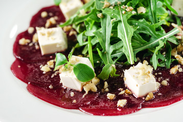 beetroot carpaccio with feta cheese