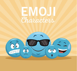 Emoji chat characters icon vector illustration graphic design