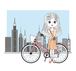 Cute girl with bike cartoon icon vector illustration graphic design