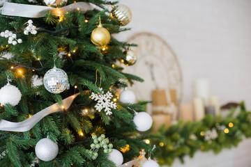 Beautiful christmas ball on xmas tree