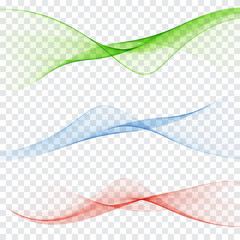 set of abstract color wave smoke transparent blue pink orange green wavy design