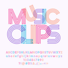 Vector colorful geometric poster Music Clips. Set of cool tube Alphabet letters, Numbers and Symbols