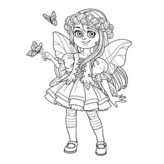 Cute girl in the costume of a spring fairy holds a butterfly on her finger outlined isolated on a white background