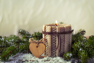 knitted candle with fir tree for traditional Christmas decoration