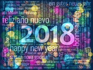 HAPPY NEW YEAR 2018 Tag Cloud Greeting Card