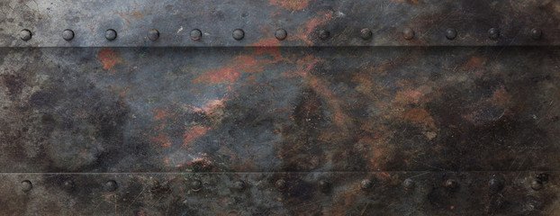Foto auf AluDibond Metall Rusty black metal plate with bolts background, banner. 3d illustration