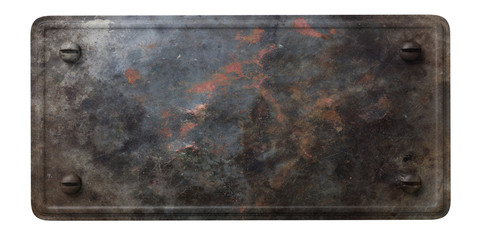 Foto op Aluminium Metal Rusty black metal plate with bolts isolated on white background. 3d illustration