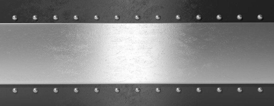 Silver black metal plate with bolts, banner. 3d illustration
