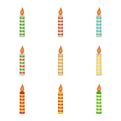 christmas candle set  for christmas design isolated on white background