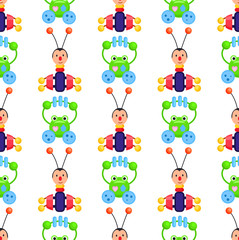 Rattle Frog and Bug Playthings on Wrapping Paper