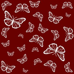 Butterflies on a red background