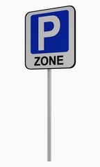 Deutsches Verkehrszeichen: Beginn Parkraumbewirtschaft Zone, auf weiß isoliert.