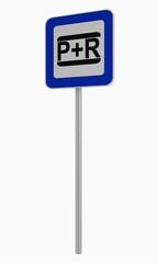 Deutsches Verkehrszeichen: Parken und Reisen, auf weiß isoliert.