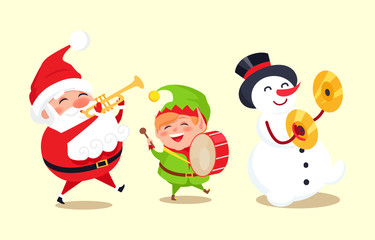 Santa Claus with Elf and Snowman Playing Music