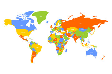 Wall Mural - Colorful map of World. Simplified vector map with country name labels.