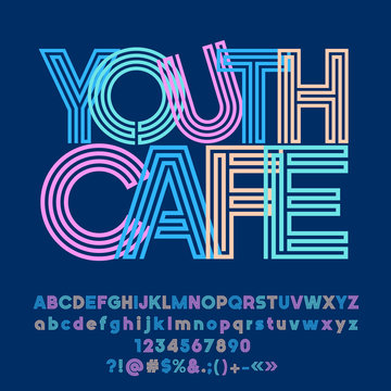Vector bright abstract logo Youth Cafe. Set of colorful maze Alphabet letters, Numbers and Punctuation Symbols