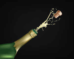 Vector illustration - Close-up of champagne explosion