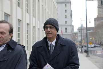 Former president of Peruvian Football Federation Manuel Burga, defendant in the FIFA corruption trial, arrives at United States Federal Court in Brooklyn, New York