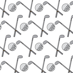 crossed golf club and ball sport game recreation pattern vector illustration