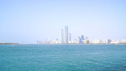 ABU DHABI, UNITED ARAB EMIRATES - APRIL 4th, 2014: Skyline view from the Marina Mall