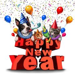 Happy New Year Cute Animals