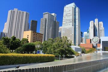 Skyline auf die SFMoMa vom Platz Yerba Buena Gardens.Where: San Francisco, USA.When: 09.07.2013.