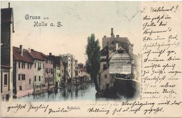 Gruss aus Halle a .S. ; Gerbersaale (Original historische Postkarte, gelaufen 1899)