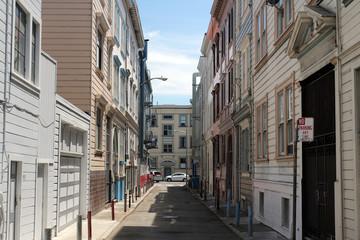 malerische Straße mit Holzhäusern in North Beach.Where: San Francisco, USA.When: 12.07.2015