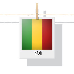 African country flag collection with photo of Mali flag , vector , illustration