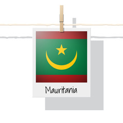 African country flag collection with photo of Mauritania flag , vector , illustration